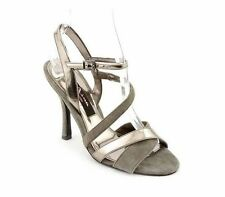 NWOB Nina Strappy Gray Faux Leather Platform Heels Pumps Shoes 9.5M  (S00197)