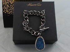 Kenneth Cole Holiday Boxed Hematite Blue Druzy Teardrop Charm Toggle Bracelet