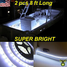 "2x 8' (96"") White LED Boat Deck Light Waterproof Bow Trailer Fishing Pontoon 12v"