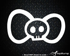Hello Kitty Bow Tie Skull Girly Car Decal / Laptop Sticker - WHITE 5""