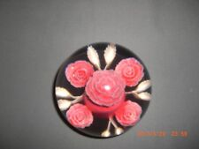Wonderful Resin Pink Rose Floral Lucite Acrylic Paperweight Hand Crafted Newton