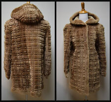 VINTAGE 1930s/40s Sheared Fur Mouton Skating Skiing Coat with Hood Size Small