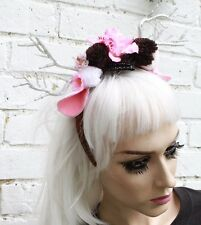 SILVER SPARKLE PINK WINTER FAWN HORNED FLOWER CROWN HEAD BAND