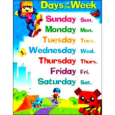 Days of the Week Block Star POSTER Learning Classroom Chart Educational Teacher