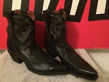 DAN POST BLACK LEATHER FLAT IRON SHORT WESTERN COWGIRL BOOTS RRP£100+ UK 5