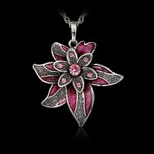 Tibet Silver Lucky Leaf Flower Pendant Necklace With Crystal Rhinestone Women's