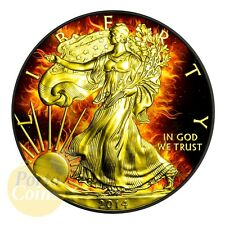 2014 Burning Eagle US 1$ Silver Eagle 1oz Silver Coin - 24kt Gold & Ruthenium