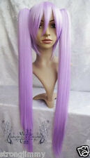 HOT~ Lucky Star Kagami long purple Cosplay Wig + 2 clips SS718