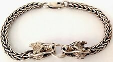 VINTAGE STERLING SILVER CHINESE DRAGON HEAD BRACELET - 31.6G