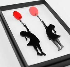 Boucles d`Oreilles Clip Multicolore Long Petite Fille Noir Rouge Leger Retro B12