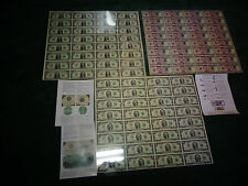 UNCUT SHEET SET 3 OF --$1x32 -$2x32 - $5 x32 Real Currency Note/Rare Money GIFT