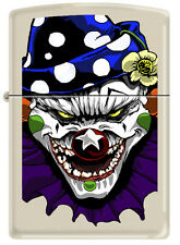 Zippo Evil Clown White Cream Matte Windproof Lighter RARE 24468 New