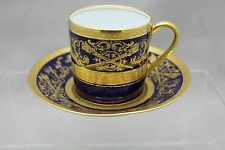 LIMOGES RAISED GOLD & COBALT BLUE CUP AND SAUCER