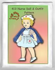 "413 Nurse Rag Cloth Girl Doll pattern & Uniform 15"" vintage"