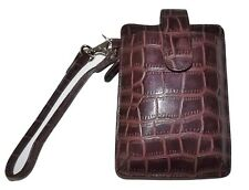 NEW ITALIA LEATHER WOMEN'S CROC EMBOSSED CELL PHONE WRISTLET ID WALLET BROWN