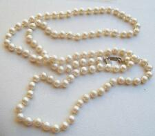 "MIRIAM HASKELL Vintage Necklace Creamy Glass Pearls Flapper Style 40"" Long"
