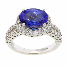 14K White Gold apx. 3.38CTW Tanzanite Solitare with Diamond Accent Women's Ring