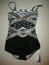 GOTTEX Black White Gold Alexandria 1 Pc Front Skirted Bandeau Swimsuit Sz 8 NWT