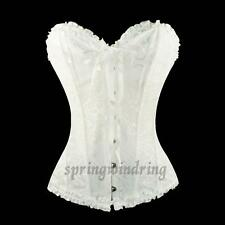 Womens Waist Training Brocade Boned Lace back Corset Bustier Top Plus Size S-6XL