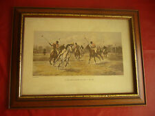 """A BACKHANDER STOPS A RUSH George Wright Pinx polo cheval cheveaux colorer main"