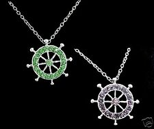 BOAT RUDDER WHEEL Nautical Sailing Chain Pendant Necklace Rhinestones