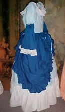 "M 35-36"" BUST COLONIAL, or  CIVIL WAR 3 PC. DRESS BLUE, BLEND W/ LACE"