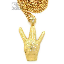 "Hip Hop 2Pac West Side Hand Micro Pendant W/ 36"" Cuban Link Chain Necklace XZP26"