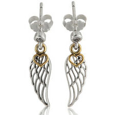 ANGEL WING Earrings 925 Solid Sterling Silver Gold Plated Openwork Studs Pins