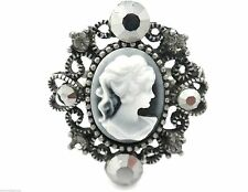 "New Cameo Crystal Ring Size 6-8"" Ajustable Cocktail Gray Antiqued Silver Tone"
