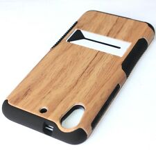 For HTC Desire 626 626S -HARD&SOFT RUBBER HYBRID CASE COVER BROWN WOOD KICKSTAND