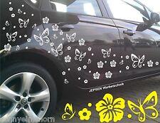 62 pezzi Farfalle Fiori Ibiscus ADESIVI PER Auto Adesivi Auto Set C32c