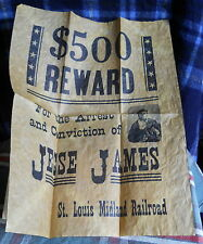 """Wanted Poster  for Jesse James with inset picture on  parchment 11""""W x 14"""" H"""