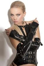 Vinyl Fingerless Gloves with Zipper and Buckle Detail Elbow Length V9431