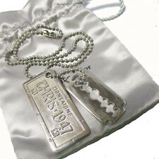 Auth Christian Dior Razor Motif Chain Necklace Silver Plated Accessory 06Y161
