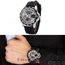Men Military Mechanical Automatic Skeleton Black Silicone Band Sport Wrist Watch
