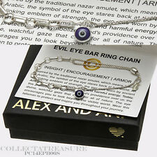 Authentic Alex and Ani Providence Evil Eye BarRingChain SterlingSilver Bracelet