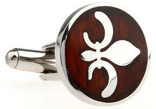 Wood and Stainless Steel Fleur de Lis Wedding Cufflinks by COWAN BROWN