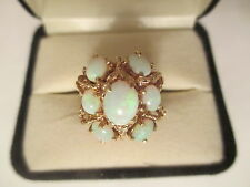 ESTATE  14K  Gold Opal Ring  TCW=3.00 Carats    (19 MM Wide)   Size 6 1/4