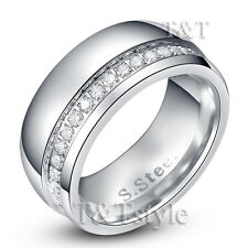 TTstyle 10mm Stainless Steel Eternity Multi-CZ Wedding Band Ring Mens & Womens