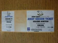 14/05/2000 Ticket: Chelsea v Derby County [Complete Away Ticket Voucher]. No obv