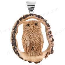 """2 3/4"""" HANDCARVED OWL REAL DEER BURR ANTLER 925 STERLING SILVER pendant"""