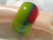 Thick, Striped, Block, Red, Green,Blue Resin Bangle. My Way Designs