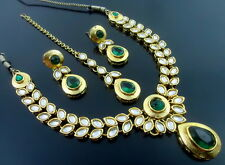 GREEN KUNDAN CZ GOLD TONE NECKLACE EARRINGS SET BOLLYWOOD TRADITIONAL JEWELRY