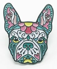 French Bulldog Pink Teal Sugar Skull Tattoo Breed Dog Lover Enamel Lapel Pin