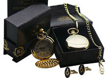 FREEMASON Gold POCKET WATCH CUFFLINKS Luxury Set Gift Box Masonic No G