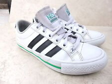 Kids Adidas Neo White Leather Casual  Plimsoll Sneaker Shoes   UK 1 EUR 33