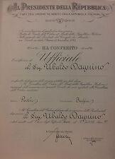 008 Diploma di nomina a Ufficiale dell'Ordine al Merito della Repubblica IT 1982