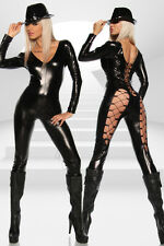 Gogo Outfit Wetlook Overall S-M 36-38 Dessous Leggings Clubwear Dress Lack