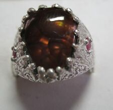 MENS HUGE 5.31CT FIRE AGATE STUNNING RUBY DESIGN IN A STERLING HANDSOME RING