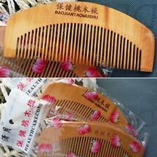 Portable Natural wood Peach Wooden wide tooth no-static Health massage hair comb